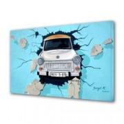Tablou Canvas Premium Abstract Multicolor Masina Care Iese Prin Zid Decoratiuni Moderne pentru Casa 80 x 160 cm