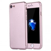 2 in 1 for iPhone 7 360 Degrees Full Coverage Protection Hard PC Protective Case + Tempered Glass Screen Film(Rose Gold)