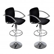 vidaXL Set scaune bar cu spătar și suport brațe, Negru