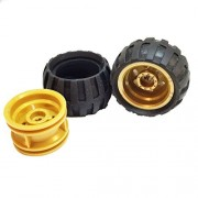Lego Parts: Off-Road wheels Tire and Rim Bundle (2) Black 43.2mm x 26mm Balloon Tires (2) Pearl Gold 30.4mm x 20mm Wheel Rims