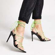 River Island Womens Neon green lace-up skinny heel sandal (8)