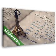 Levelek a malomból, Eiffel-torony kulcstartóval (40x25 cm, Vászonkép )