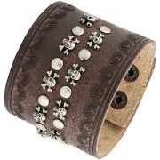 The Jewelbox Biker Punk Funky 100 Genuine Handcrafted Brown Leather Wrist Band Bracelet Men Boys