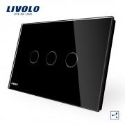 Intrerupator triplu cap scara/cruce cu touch Livolo din sticla - standard italian, negru