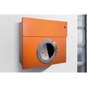 Radius Design Letterman 1 Briefkasten orange (RAL 2009) mit Klingel in blau ohne Pfosten