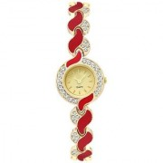TRUE CHOICE TC 10 RED BEALT AND GOLD DAIL ANALOG WATCH FOR GIRLS.