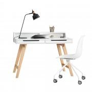 [en.casa]® Escritorio retro + silla blanco mesa de ordenador consola diseño