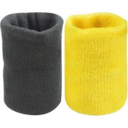 Neska Moda Unisex Black And Yellow Pack Of 2 Cotton Wrist Band