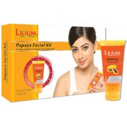 Lilium Herbal Papaya Facial Kit 80gm With Free Face Wash 60ml Worth Rs.60/