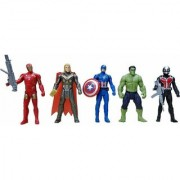 Miracle Justice Super Heroes 5 in 1 Action Figure Set with Projection Light - Captain America Hulk Thor Iron Man Sp