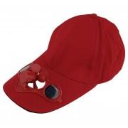 Gorra de pesca de verano para con ventilador Solar para la playa Sombrero LANG(#Rojo)