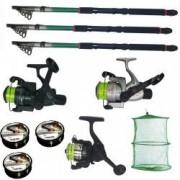 Set pescuit cu 3 lansete de 3 6m 3 mulinete 3 fire Cool Angel si juvelnic