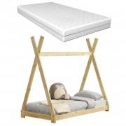 Детско креватче с матрак от студена пяна, антиалерген, Öko-Tex 100 ,160x80cm, Натурален Бор