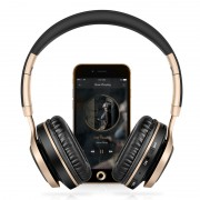 PICUN BT08 Over-ear Wireless Bluetooth Stereo Headset Headphone with Microphone Support FM Radio - Black / Gold