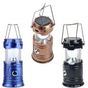 LED Solar Emergency Light Lantern + USB Mobile Charging+Torch Point 2 Power Source Solar+AC - Multi Color
