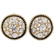 Maayra Sparkling Stones Earrings Black Ear Studs Party Jewellery