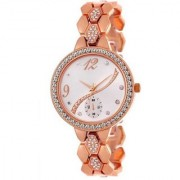 Lava Creation Latest Round Dial Rose Gold Metal Strap Diamond Girls Watch For Women ( New Update-215 )