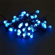 Instalatie pentru Craciun Albastru cu 80 LED-uri tip Globulete, Lungime 13m, 8 Moduri de Iluminare