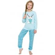 Ada karácsonyi lányka pizsama macival, kék 92