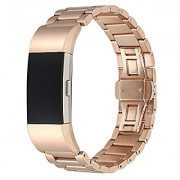 Luxury Three Beads Stainless Steel Band Replacement for Fitbit Charge 2 - Rose Gold Color