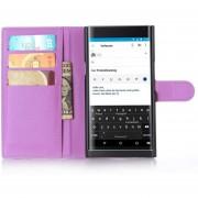 De grano lleno de cuero de la carpeta del tirón del teléfono cubierta de la caja para BlackBerry priv Púrpura
