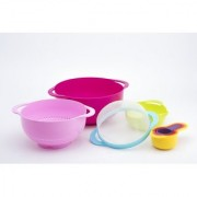 Godskitchen Nest 8 Nesting Bowls Set with Mixing Bowls Measuring Cups Sieve Colander 8-Piece Multicolored