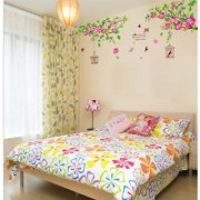 Asmi Collections Summer Tree Cage Flowers Wall Sticker AY1916