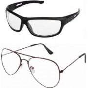 Barbarik Wrap-around, Aviator Sunglasses(Clear, Clear)
