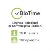 Licencia Standard de software para BioTime7 / 20 dispositivos / 2000 empleados / Licencia vitalicia, ZK-BT-7S