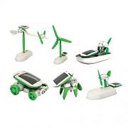 Heer Educational 6 in 1 Solar Power Energy Robot Toy Kit, White/Green