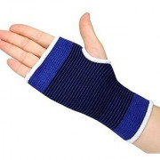Elastic Palm Wrist Glove Hand Grip Support Protector Brace Sleeve Support (Free Size Blue)