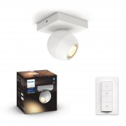 Philips Hue Buckram opbouwspot - White Ambiance - 1-spot wit (incl. DIM switch)