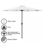 Градински чадър [casa.pro]® Ø 300 x 230 cm, Бял, водоусточив, Полиестер