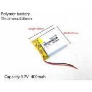 582728 - Acumulator Li-Polymer - 3,7 V - 400mah - 27x28x5,8 mm