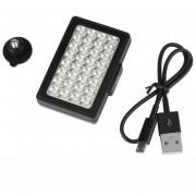 ER Luz De Vídeo 32 LED Integrado Luz De Relleno Para Las Cámaras Digitales Del Teléfono Móvil Negro.