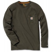 Carhartt Force Cotton Camisa de manga larga Verde Oscuro S