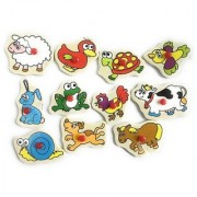 SHRIBOSSJI Wooden Animals Puzzle Tray with Colorful Pictures Learning Board