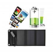 EW Panel solar plegable 6W USB de viaje Camping cargador de batería portátil para el teléfono Negro