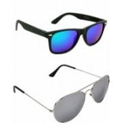 aden&terry Wayfarer, Aviator Sunglasses(Silver, Blue)