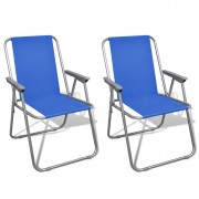 vidaXL Folding Chair Set 2 pcs Camping Outdoor Chairs Blue