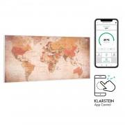 Klarstein Wonderwall Air Art Smart, инфрачервен нагревател, 120 х 60 см, 700 W, приложение, свят (HTR10-WdwlS700wMap)