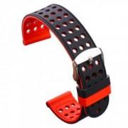 Curea silicon cu doua fete compatibila cu Sony Smartwatch 2 SW2 24mm Negru/Rosu