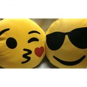 Krishan Enterprises Toys cool smiley pillow yellow-30 cm ( 2 cushions)