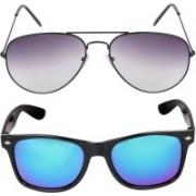 Criba Aviator, Wayfarer Sunglasses(Grey, Blue)