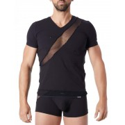 Lookme Jealous Fishnet Stripes Zipper V Neck Short Sleeved T Shirt Black 808-81