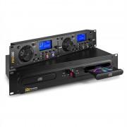 Power Dynamics PDX350, двоен DJ-CD / USB плейър контролер, CD / USB / MP3, черен (Sky-172.715)