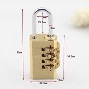 Metal 4-Digit Combination Padlock Set with Free Metal Number Lock (Gold Pack of 2)