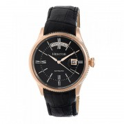 Heritor Automatic Vernon Leather-Band Watch w/Day/Date - Rose Gold/Black HERHR5808