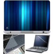 Finearts Laptop Skin Blue Verticle Lines With Screen Guard And Key Protector - Size 15.6 Inch