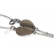 Bracciale doppio LUI e LEI uomo donna in Argento 925 cuore spezzato da spezzare lucchetto chiave